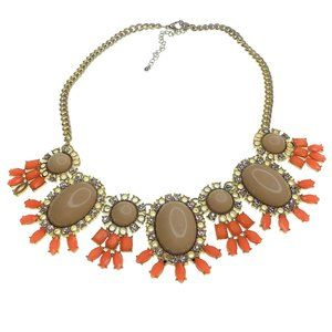 Statement Necklace Coral Beige Gold Tone